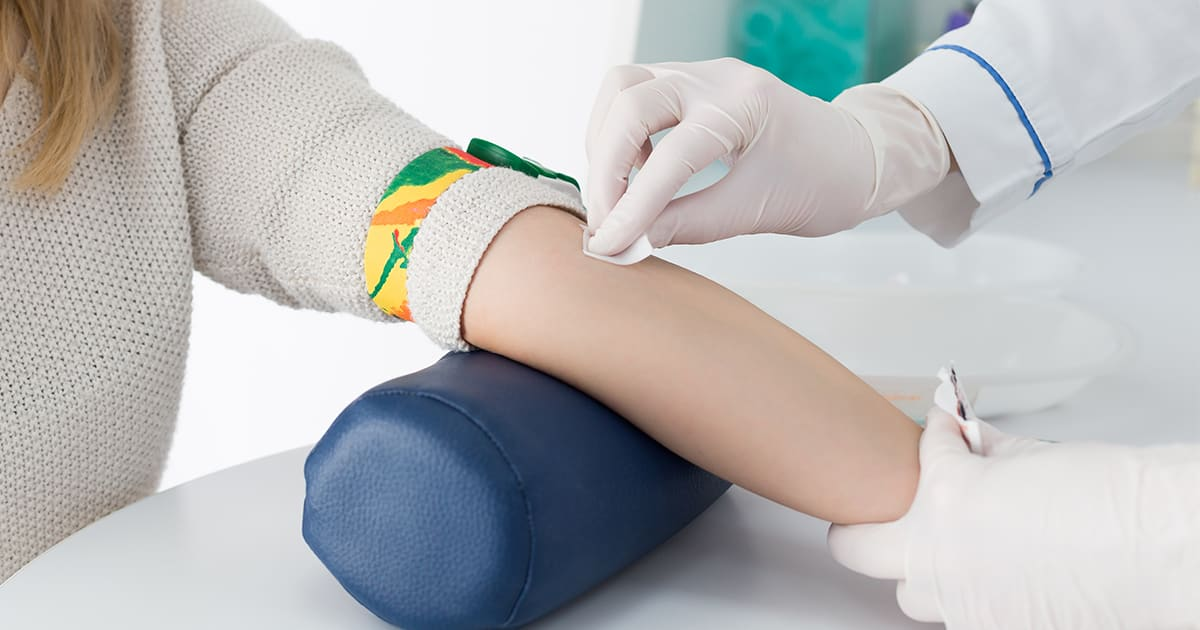 Woman has her blood tested