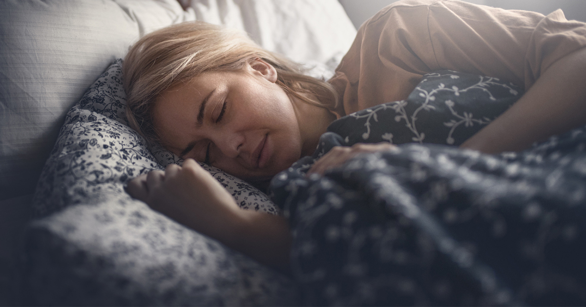 Woman peacefully getting sleep benefits
