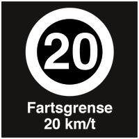 Skilt HMS 20 Km/t fartsgrense
