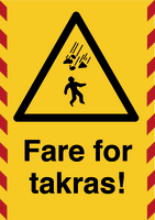 Skilt Fare for takras m/refleks