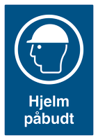Skilt Hjelm påbudt u/refleks, A4 plast