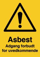 Skilt Asbest - Adgang forbudt u/refleks, A4
