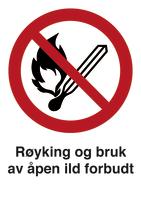 Skilt Røyking og bruk av åpen ild forbudt m/refleks, A4