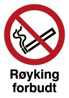 Skilt Røyking forbudt m/refleks, A4
