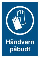 Skilt Håndvern påbudt m/refleks, A4 Alu