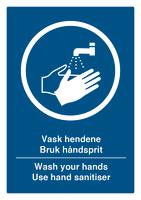 Skilt Vask Hendene plast A4