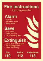 Skilt Branninstruks EN etterlysende alu