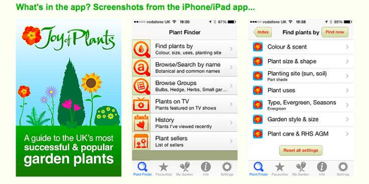 Screenshots of Joy of Plants database app