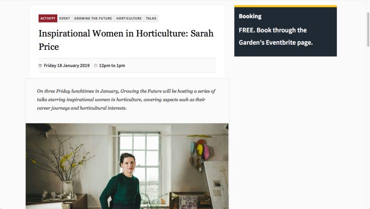 Screenshot of Botanic Garden Wales' Inspirational Women in Horticulture talks website