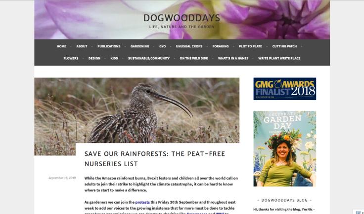Screenshot of peat free nursery list web page