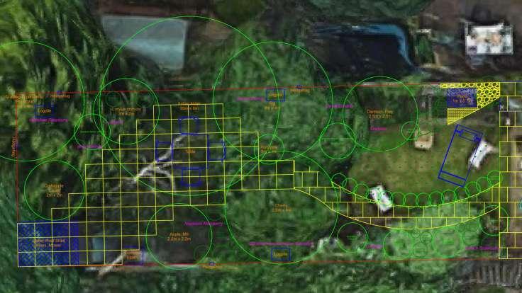 Screenshot of CAD garden plan, overlaid on satellite photo
