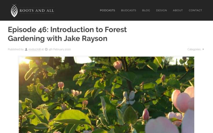 Screenshot of Roots and All podcast website