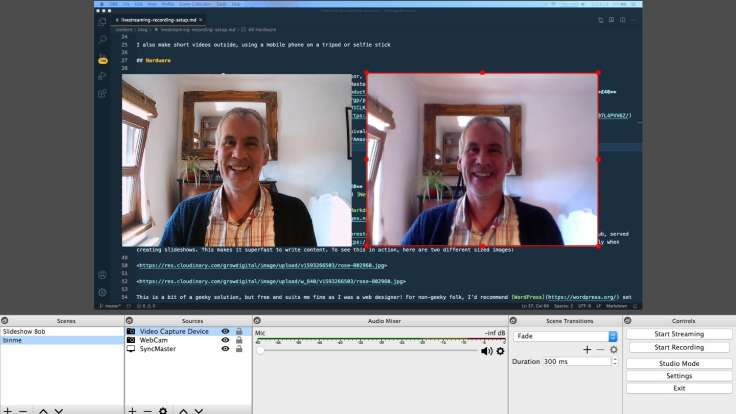 Screenshot of livestreaming software and two webcams in operation