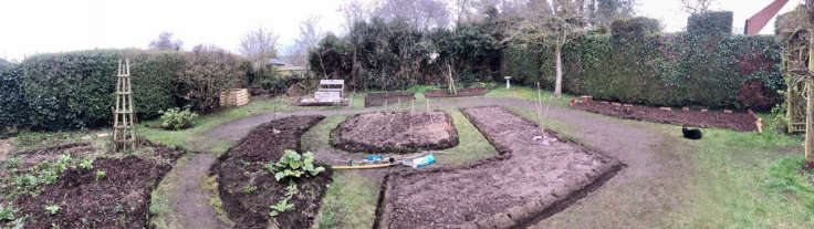 Panorama of new beds in back garden