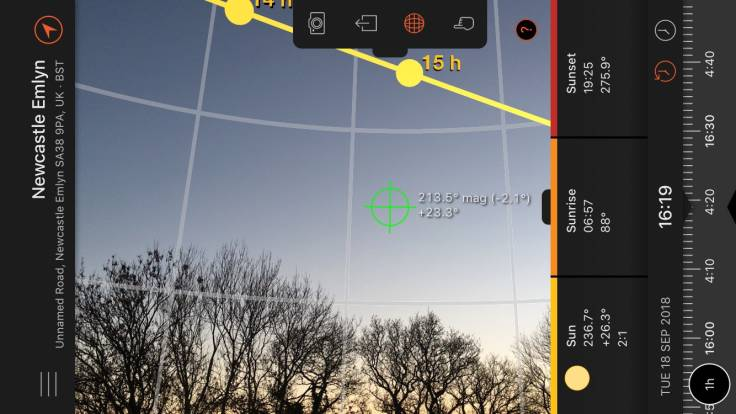 Screenshot of Sun Surveyor app showing higher path of sun