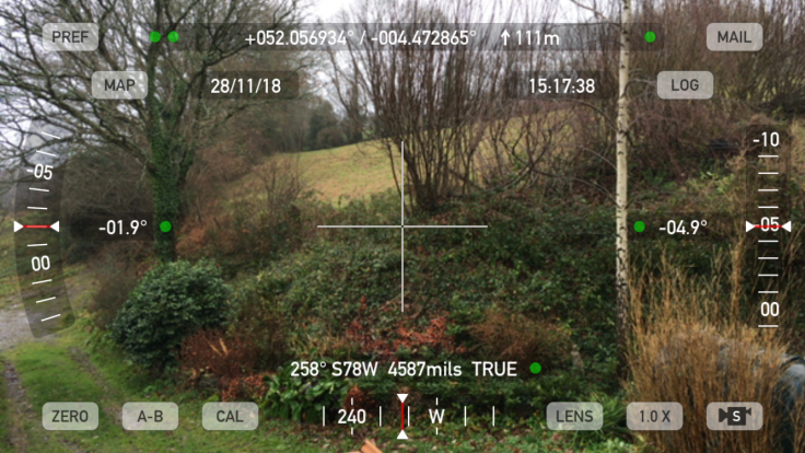 Screenshot of Theodolite survey app, augmented reality, looking at field