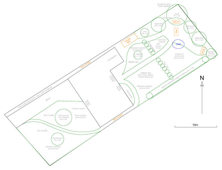 CAD forest garden plan