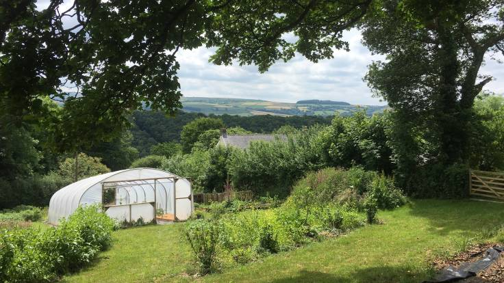 View over polytunnel and house to valley beyond