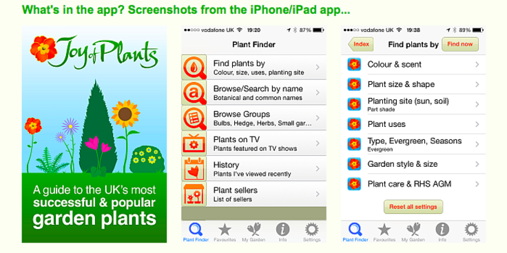 Screenshots of Joy of Plants database app