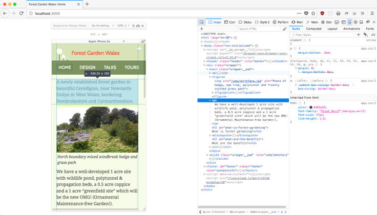 Screenshot of Forest Garden Wales website in browser, with browser tools showing