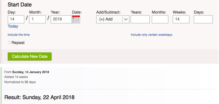Screenshot of date calculator online tool