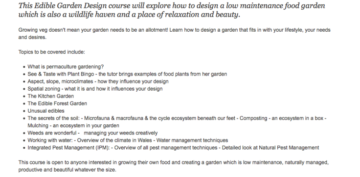 Screenshot of Edible Garden Design course details, list of topics
