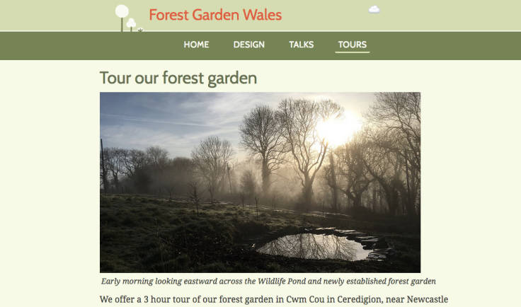 Screenshot of Forest Garden Wales tours page!