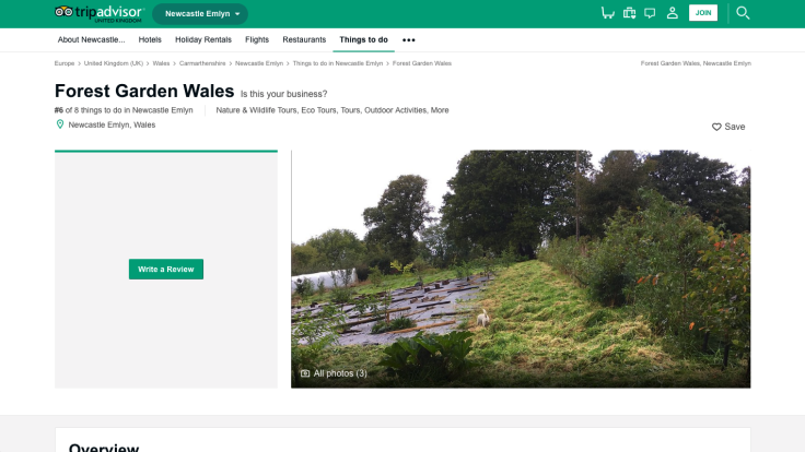 Screenshot of Forest Garden Wales on TripAdvisor