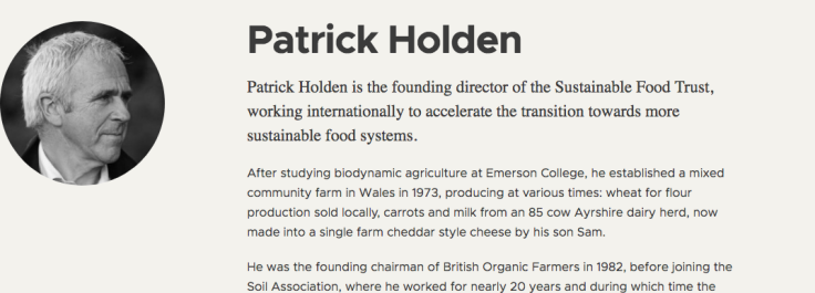 Patrick Holden biography page on Sustainable Food Trust website