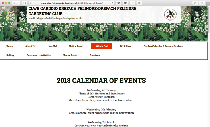 Screenshot of Drefach Felindre Gardening Club website