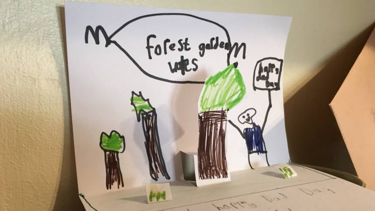 Pop up Fathers' Day card with trees by a 7 year old