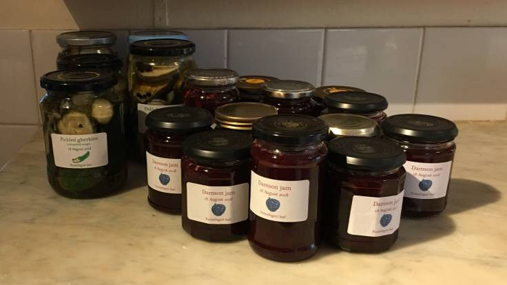 Jars of home made pickle and jam