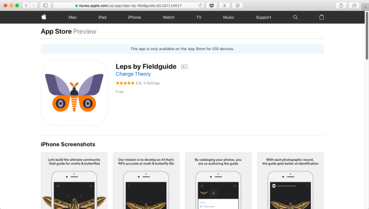 Screenshot of Leps app on Apple App Store by Fieldguide