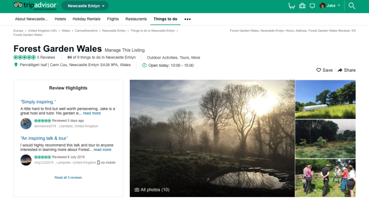 Screenshot of Forest Garden Wales TripAdvisor page