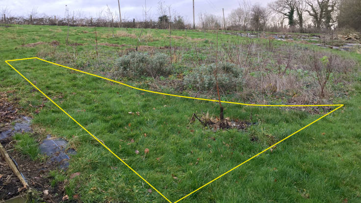Yellow line showing proposed extension to area for new green veg bed