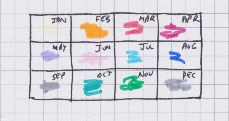 Sketch of composite photo calendar year, months marked up