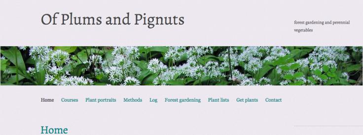 Screenshot Of Plums and Pignuts forest garden and perennial veg website