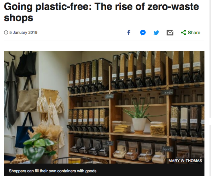 Screenshot of BBC post 'Going plastic-free'