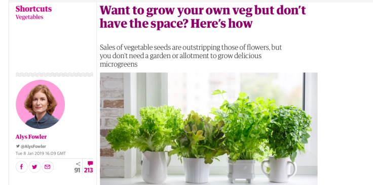 Screenshot of vegetable article
