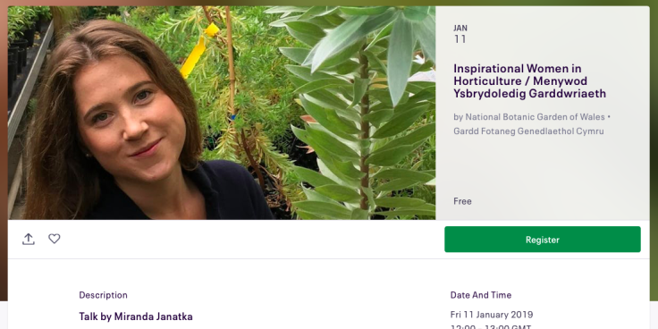 Screenshot of Grow the Future Eventbrite page for Miranda Janatka talk