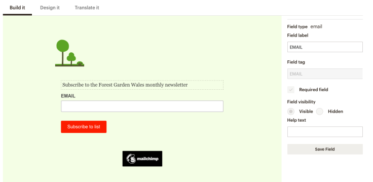 Screenshot of Mailchimp signup form designer