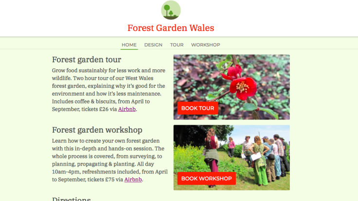 Screenshot of new Forest Garden Wales home page