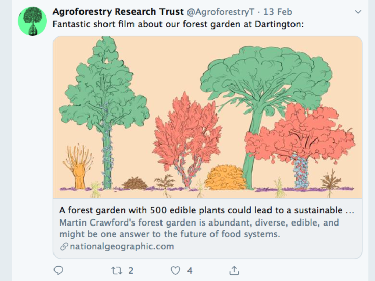 Screenshot of Agroforestry Research Trust tweet