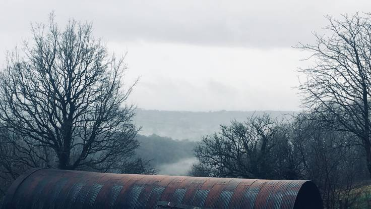 Photo of cloudy valley past tin barn roof and bare trees
