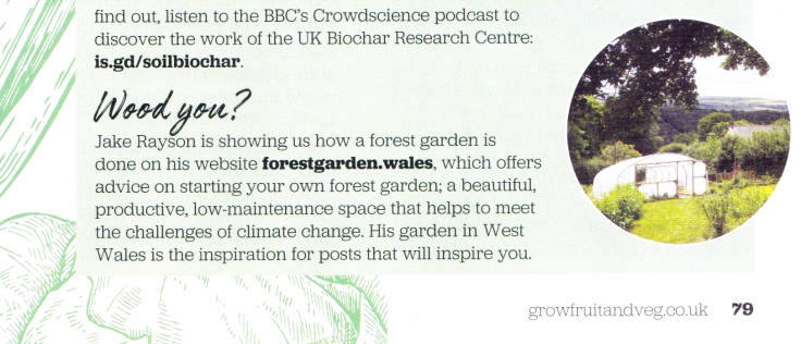 Scan of Forest Garden Wales snippet in Grow Your Own magazine