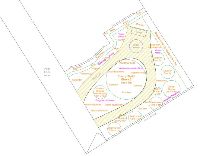 CAD plan of garden