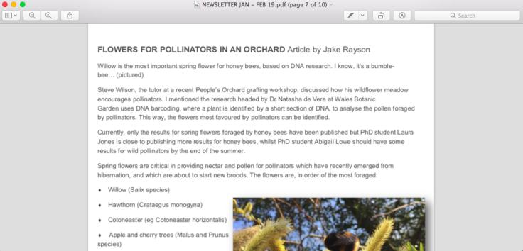 Screenshot of article on pollinators