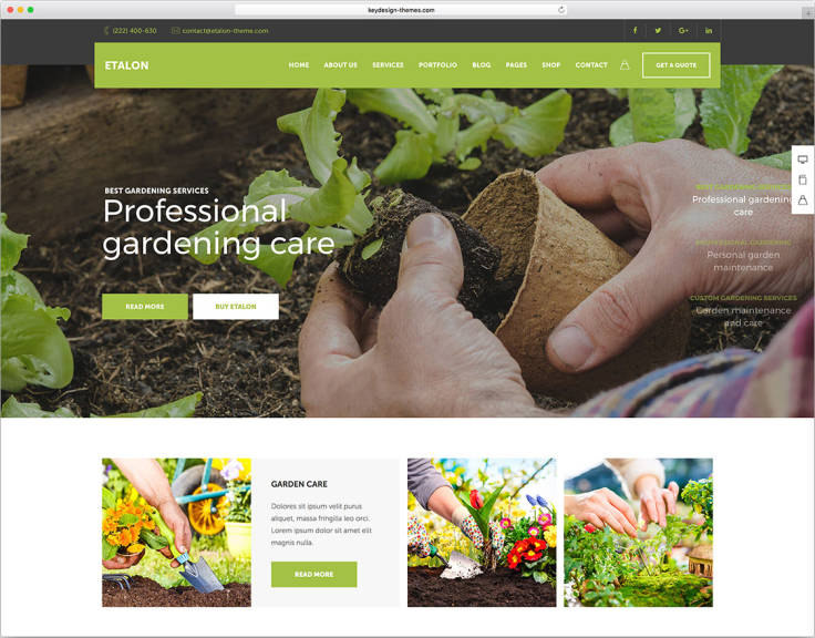 WordPress theme for garden website