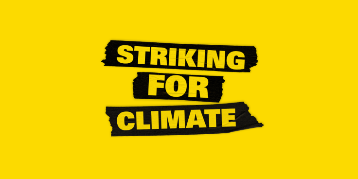 Yellow banner Striking For Climate