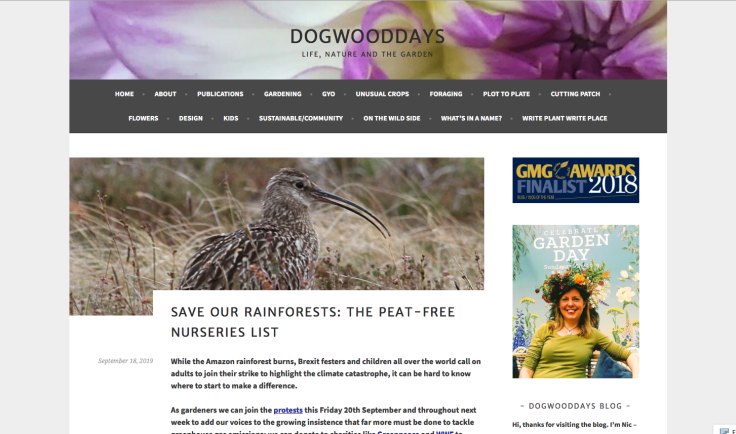 Screenshot of peat free nursery list web page